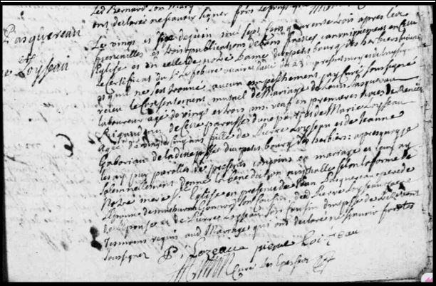 Acte de mariage Pasquereau x Loizeau 1743 les Epesses en Vendée