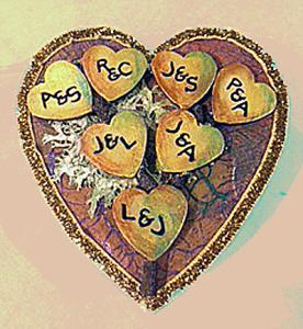 Carved initials on a box of Chocolates