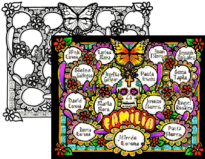 Photo of Color your own Day of the Dead Pedigree Chart