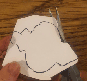 Cutting out the template