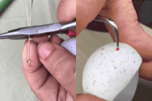 Cut the eye pin to about an inch. Use a sharp tool to put a hole in the top of the egg