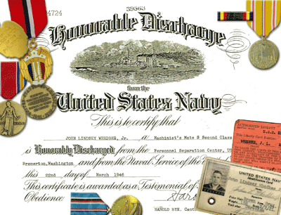 John Whedbee's Honorable Discharge Page