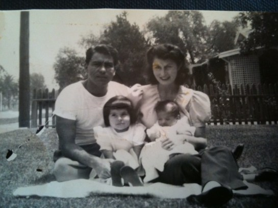 Cristóbal Tomas Portillo (1911-1997) and Lois Stoltzenburg (1918-2011) with Diane and Christine