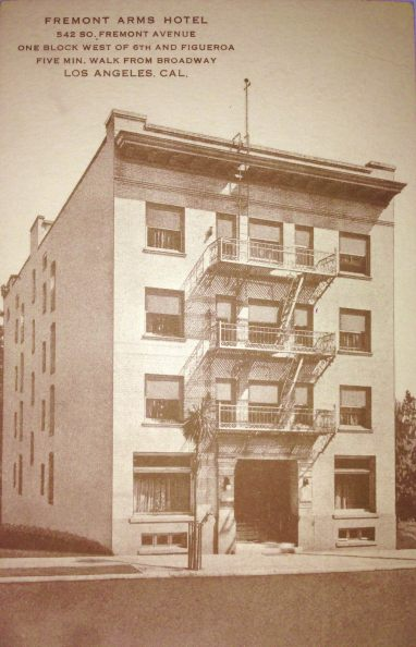 Undated post card for hotel located at 542 S. Fremont Ave., Los Angeles