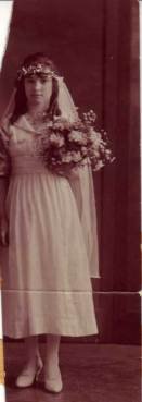 """María Lucia """"Lucille"""" Alvarado (1903-2001) on the day of her marriage to Willard Vane Wood (1898-1986), 3 February 1919"""