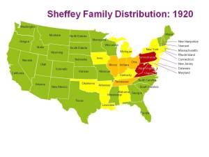 The distribution of the Sheffey family in 1920