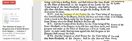 Sergeant of the Poultry's role in Court punishments