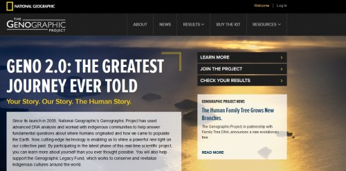 National Geographic Society's Geneographic Project website
