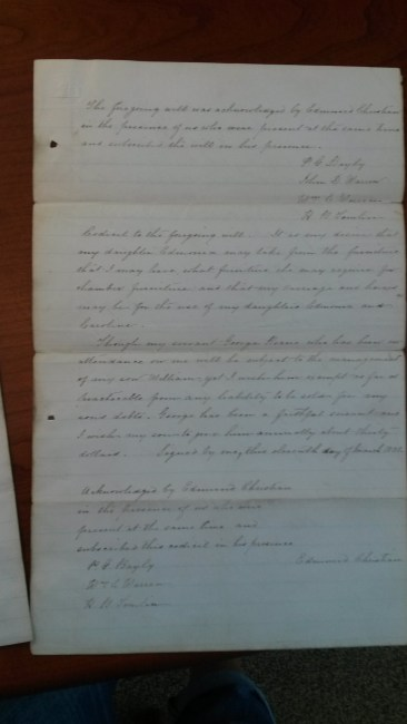 Codicil to Edmund Christian's Will, citing annuity for George Henry Roane