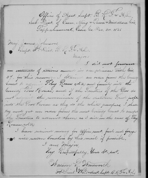 Toby Roane's petition for admittance to the poor house. Letter dated- 24 Dec 1866 -