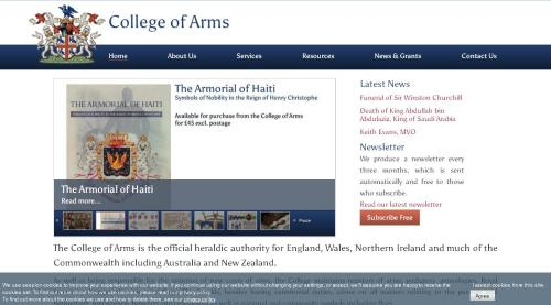 screengrab of the Royal College of Arms homepage