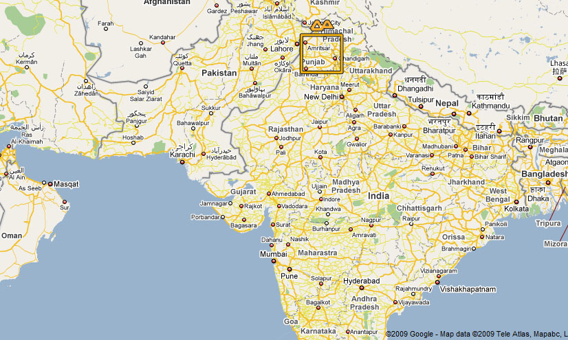 Map showing The location of Ludhiana in the Indian state of Punjab.