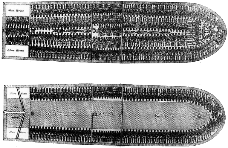 illustration of a slave ship hold