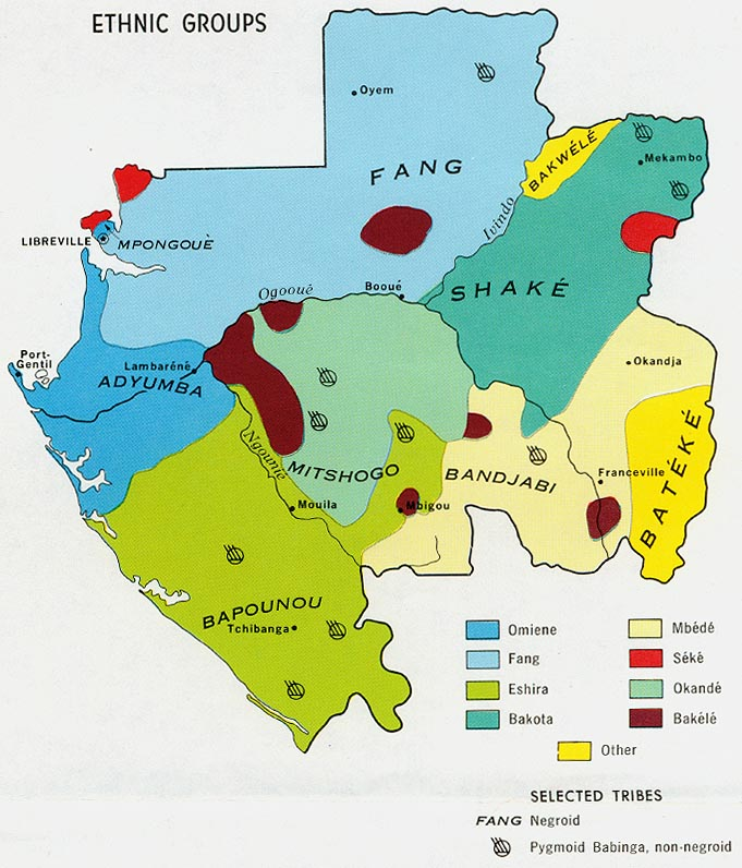 Ethnographic map of modern Gabon. Bakele=Akele and Bapouno+Punu