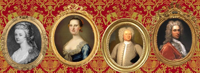 """imaging showing Left to Right: Mary (Ball) Washington (My 1st cousin and George Washington's mother), Martha (Dandridge) Custis Washington (First Lady), Colonel Robert """"King"""" Carter (acting Governor of Virginia), and Thomas Lee (Governor of Virginia)"""