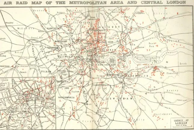 Map of bombs on London during WW1