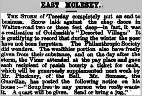 Storm East Molesey in 1881