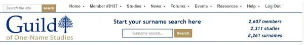 Guild of One Name Studies surname search