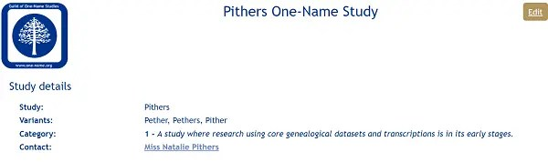 Pithers page on Guild of One Name Studies