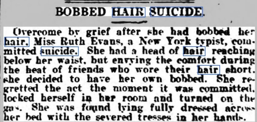 Newspaper article stating that a young typist committed suicide due to the regret she felt at having bobbed her hair.