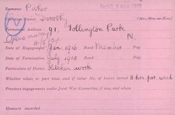 Dorothy Pither volunteer record, giving address as 91 Tollington Park. A practical clue to WWI family history for the Pither.