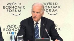 圖示:美國副總統拜登出席世界經濟論壇(WEF)尋求抗癌登月計畫的經費。來源:www.youtube.com/watch?v=ic5jBK-illQ