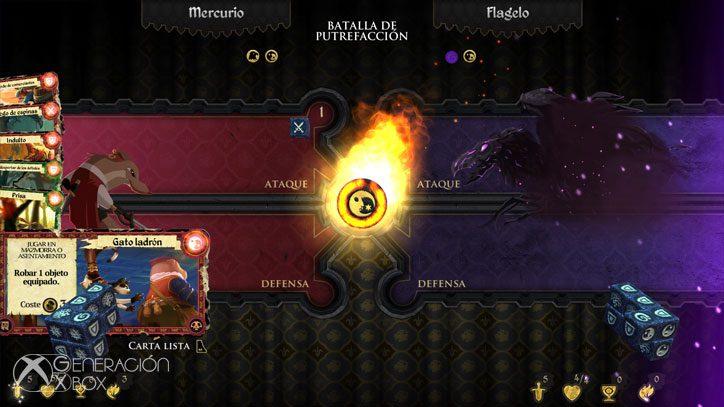 Sistema de combate con dados y mazos de cartas del juego.