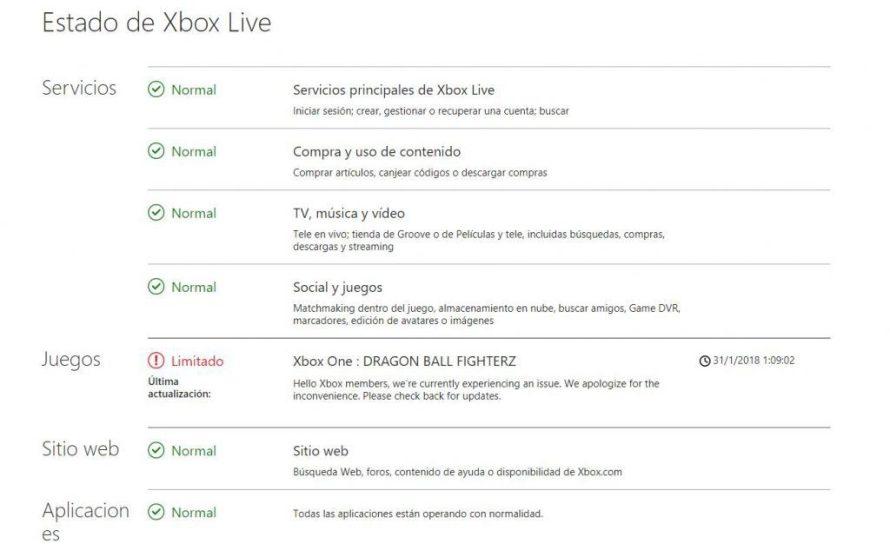 Xbox Live presenta problemas en Dragon Ball FighterZ