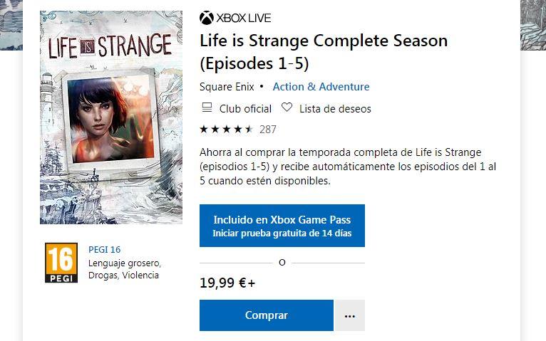 Life is Strange Xbox Game Pass