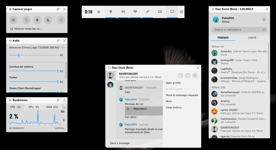Mensajes desde la Barra de Juego de Windows 10