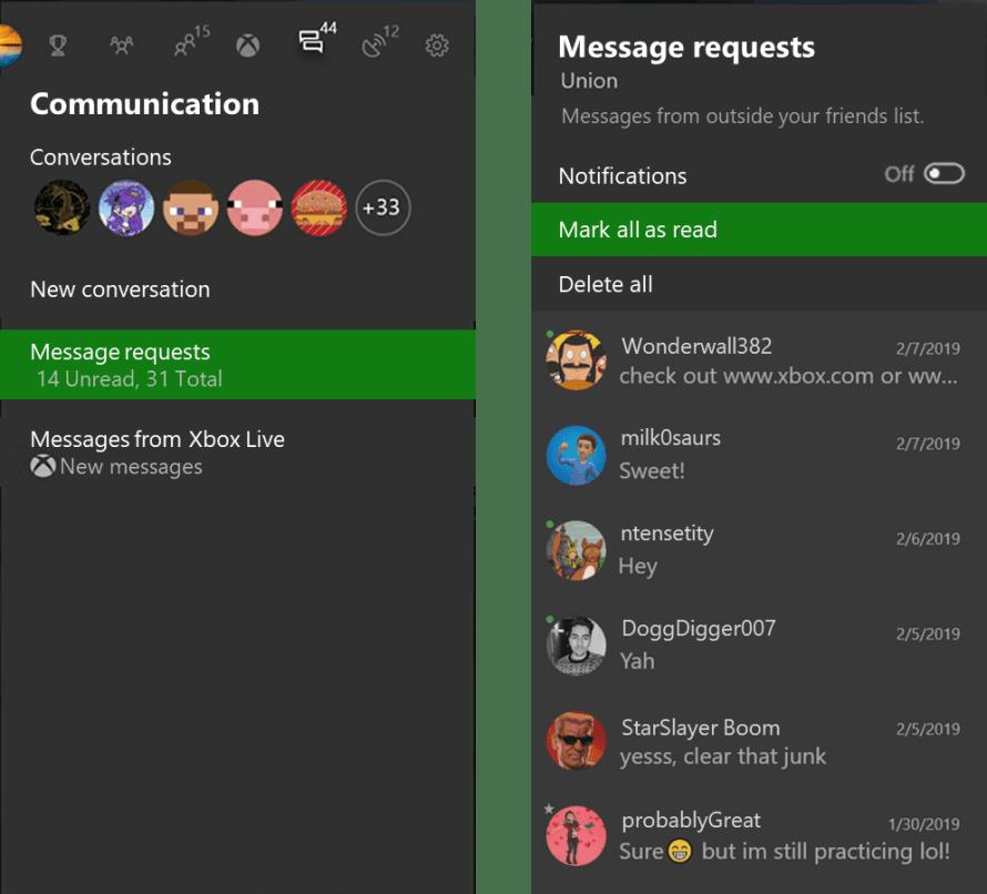 Pestaña de petición de mensajes de Xbox One en 1905
