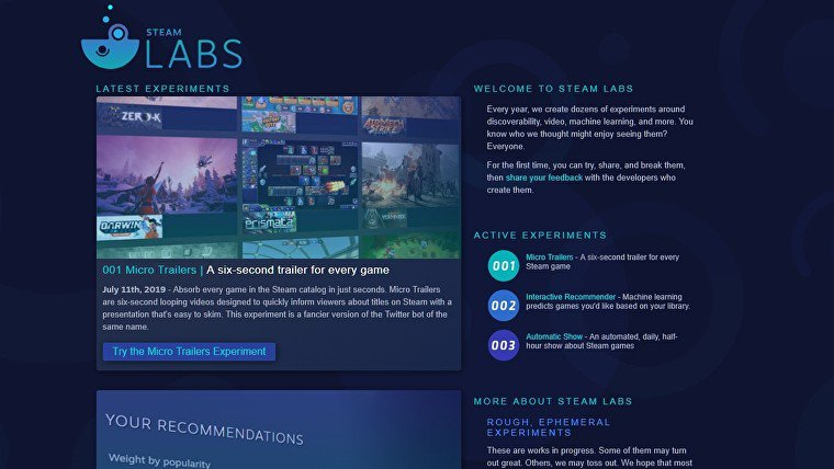 Valve anuncia los 'Steam Labs' para probar nuevas funcionalidades de la tienda