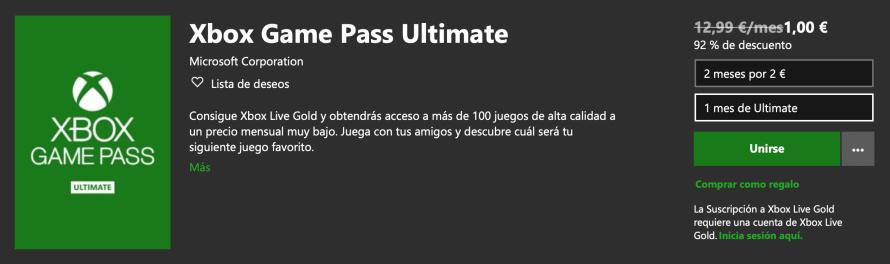 Nueva oferta Xbox Game Pass Ultimate: 2 meses por 2€
