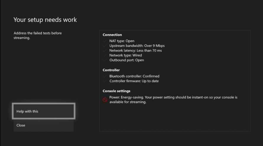 Comprobación de la redpara usar Xbox Console Streaming