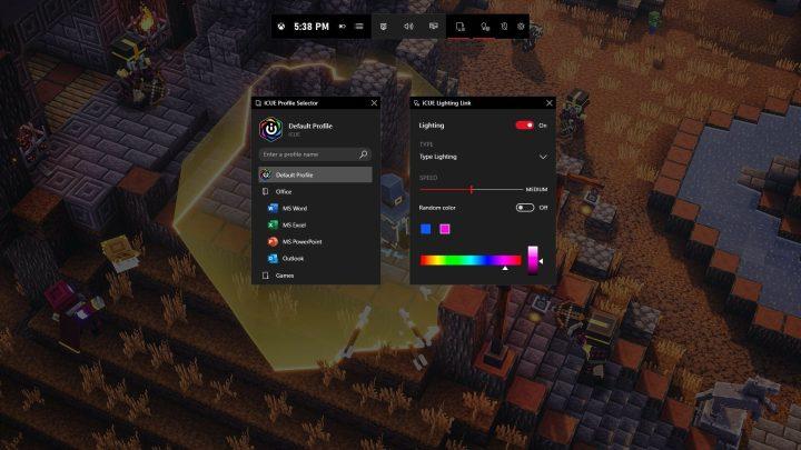 Corsair iCUE en la barra de juego de Xbox