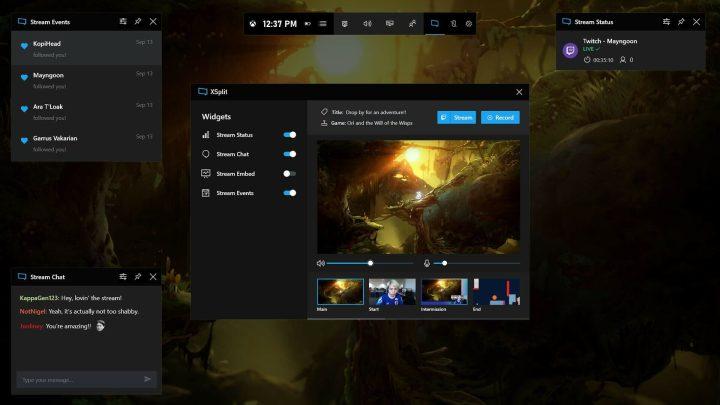 XSplit en la barra de juego de Xbox para Windows 10