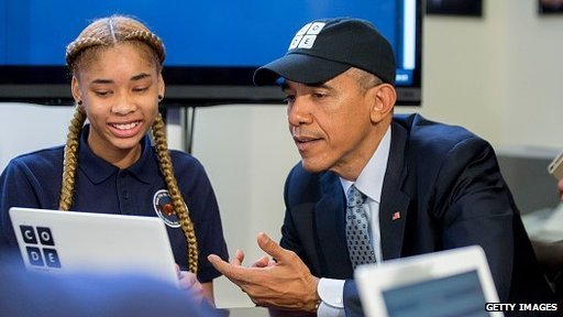 President Obama with pupil Adrianna Mitchell at the Hour of Code event