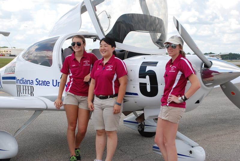 Second place winners, Lydia Kost, MiJim Kim, and Kayleigh Bordner, from Indiana State cool off in Daytona.