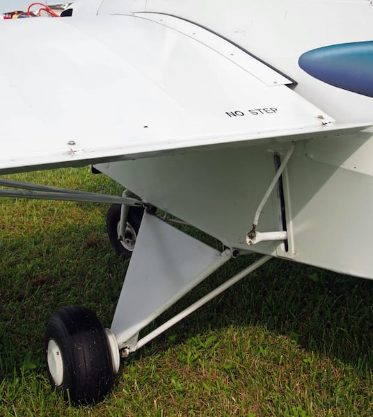 Note the aileron push-pull tubes emerging from the fuselage, which can be mechanically adjusted (on the ground) to change the ailerons to flaperons.