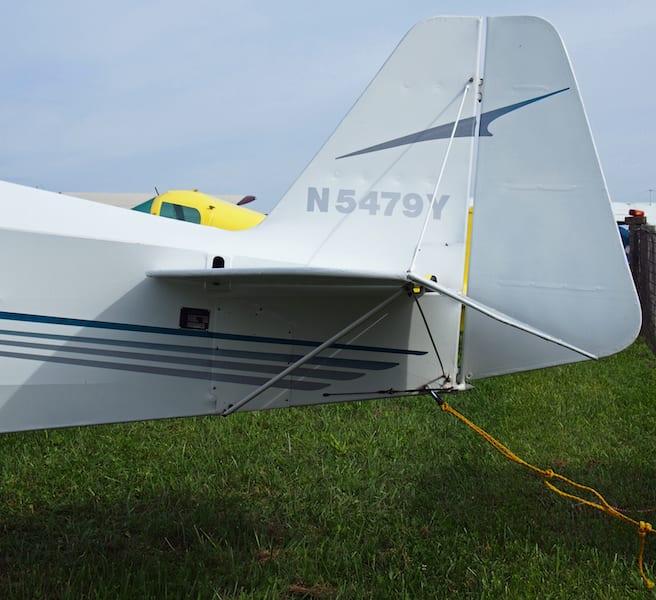 The horizontal stabilizer moves up and down via a jackscrew to trim the aircraft.