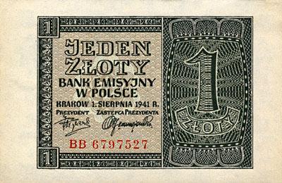 Generalne Gubrnatorstwo banknot 1 złoty 1941 r.