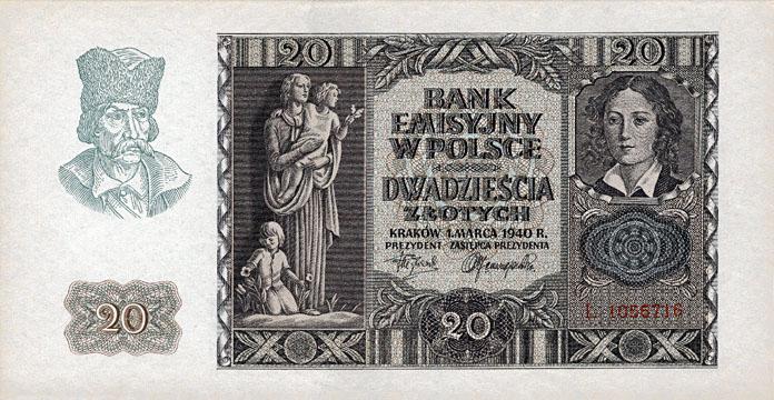 Generalne Gubrnatorstwo banknot 20 złotych 1940 r.