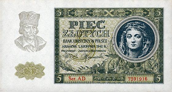Generalne Gubrnatorstwo banknot 5 złotych 1941 r.