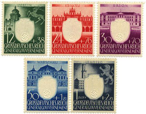 Znaczki GG Seria Fi. 105-109 1943 r. czyste ** MNH-0