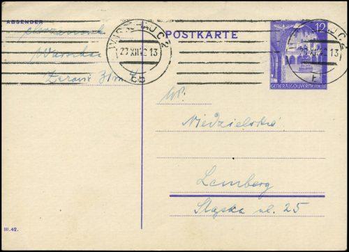 Generalgouvernement Całostka Cp. 9B z obiegu WARSCHAU - LWÓW 1942