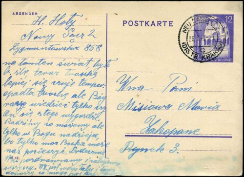 Generalgouvernement Całostka Cp. 9B z obiegu NEU SANDEZ - ZAKOPANE 1943
