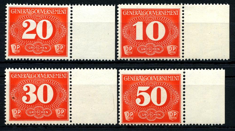 Generalgouvernement Seria doręczeniowa Fi. D1-4 1940 ** MNH P1-4