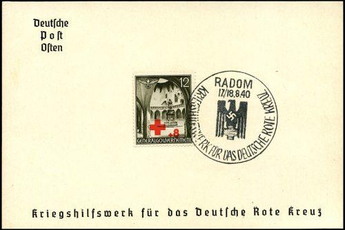 GG kasownik SST 4C Kriegshilfswerk fur das deutsche Rote Kreuz 1940 Radom