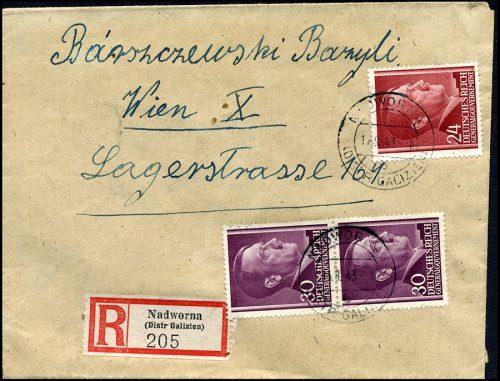 Generalgouvernement R-brief NADWORNA Надвірна Nadwirna Dist. GALIZIEN - Wien 1943