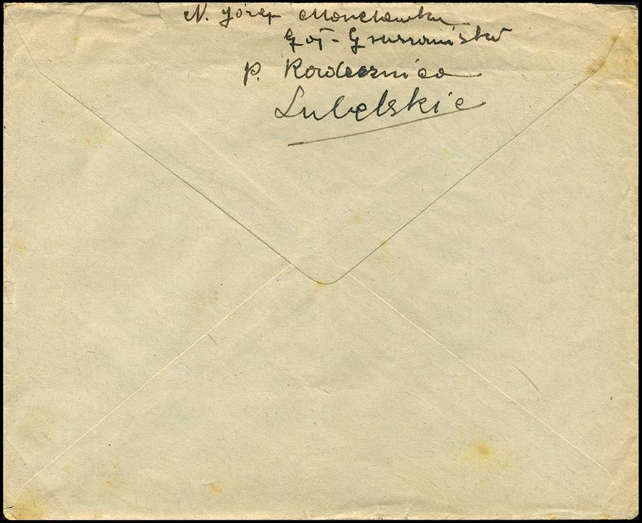 Generalguvernement - list ZAMOŚĆ - FROHBURG 1941